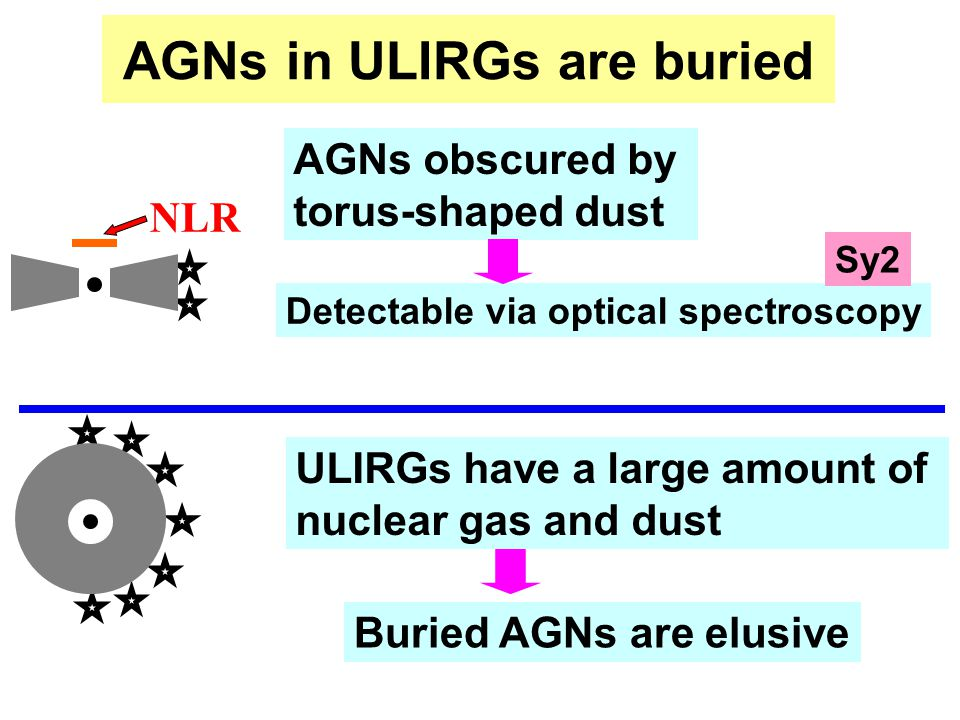 AGNs in ULIRGs are buried AGNs obscured by torus-shaped dust Detectable via optical spectroscopy NLR ULIRGs have a large amount of nuclear gas and dust Buried AGNs are elusive Sy2