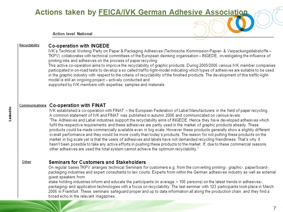 7 Actions taken by FEICA/IVK German Adhesive Association Linked to National Recyclability Communications Other Action level Co-operation with INGEDE IVK's Technical Working Party on Paper & Packaging Adhesives (Technische Kommission Papier- & Verpackungsklebstoffe – TKPV) collaborates with technical committees of the European deinking organisation – INGEDE, investigating the influence of printing inks and adhesives on the process of paper recycling.