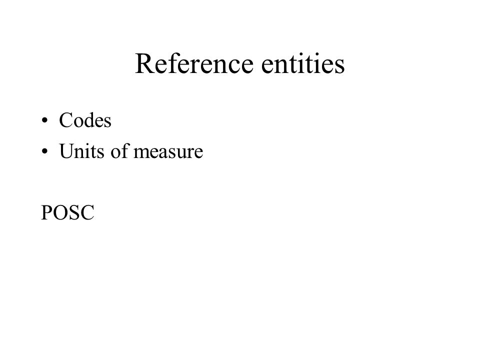 Reference entities Codes Units of measure POSC
