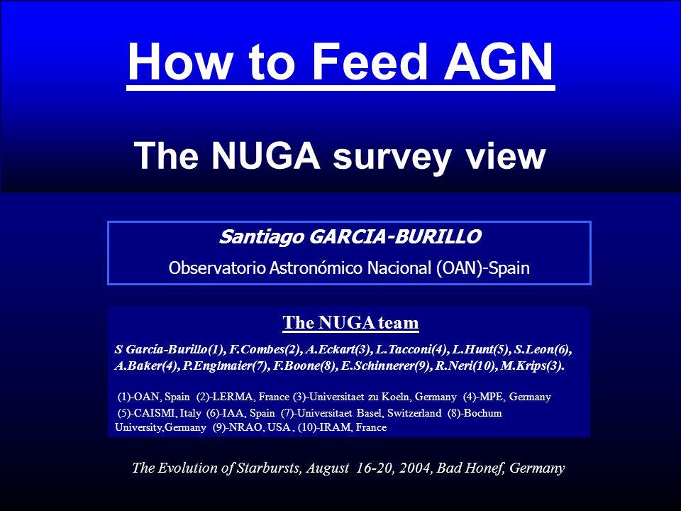 How to Feed AGN The NUGA survey view Santiago GARCIA-BURILLO Observatorio Astronómico Nacional (OAN)-Spain The NUGA team S García-Burillo(1), F.Combes(2), A.Eckart(3), L.Tacconi(4), L.Hunt(5), S.Leon(6), A.Baker(4), P.Englmaier(7), F.Boone(8), E.Schinnerer(9), R.Neri(10), M.Krips(3).