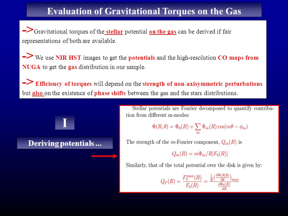 Evaluation of Gravitational Torques on the Gas -> Gravitational torques of the stellar potential on the gas can be derived if fair representations of both are available.