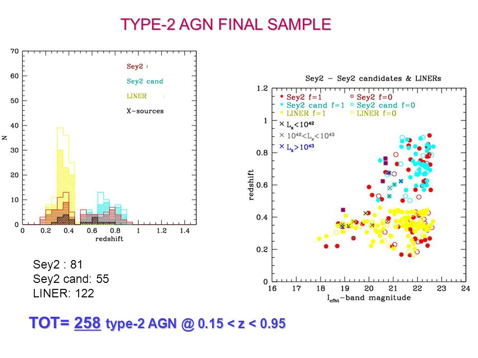 TYPE-2 AGN FINAL SAMPLE TOT= 258 type-2 AGN @ 0.15 < z < 0.95 Sey2 : 81 Sey2 cand: 55 LINER: 122