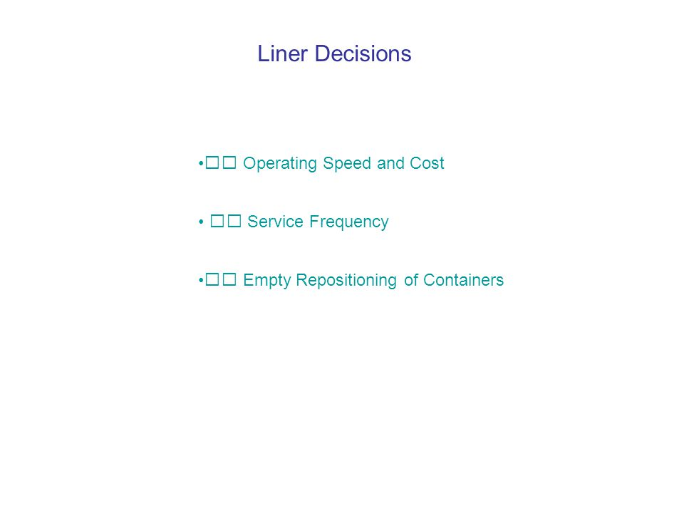  Operating Speed and Cost  Service Frequency  Empty Repositioning of Containers Liner Decisions