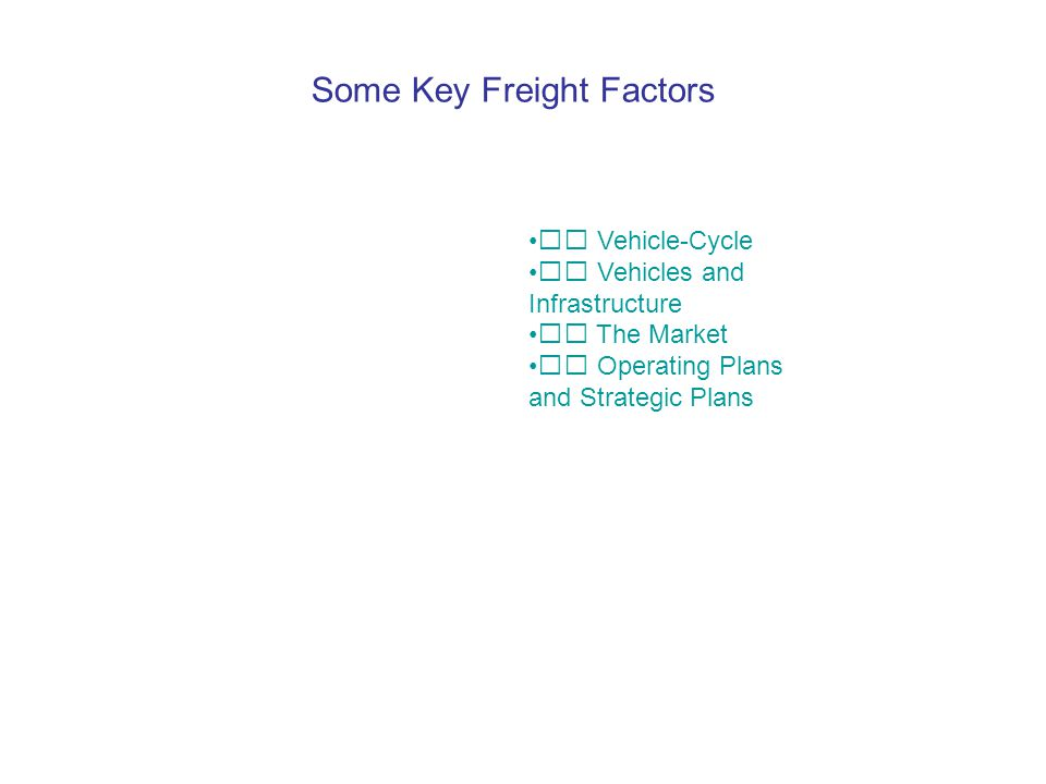 Some Key Freight Factors  Vehicle-Cycle  Vehicles and Infrastructure  The Market  Operating Plans and Strategic Plans