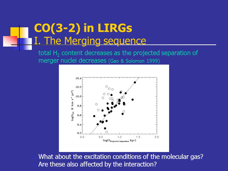 CO(3-2) in LIRGs I. The Merging sequence total H 2 content decreases as the projected separation of merger nuclei decreases (Gao & Solomon 1999)  Wha