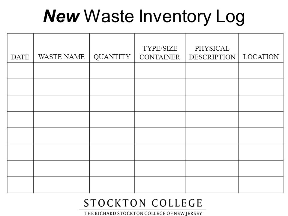 New Waste Inventory Log DATEWASTE NAMEQUANTITY TYPE/SIZE CONTAINER PHYSICAL DESCRIPTION LOCATION