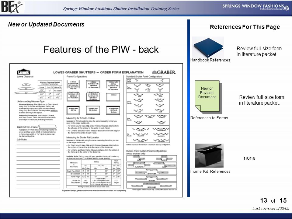 13 References For This Page Handbook References Frame Kit References Last revision 5/30/09 References to Forms New or Revised Document of 15 Features of the PIW - back Review full-size form in literature packet.