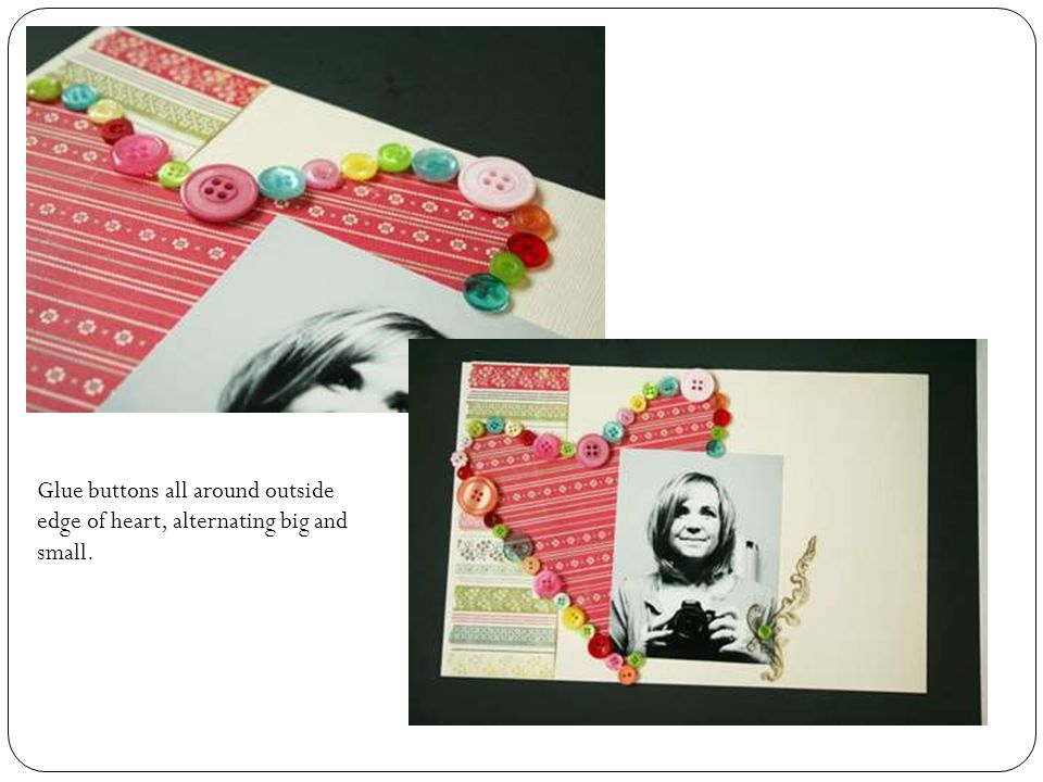 Find out cut out note card charming and adhere onto page as shown.