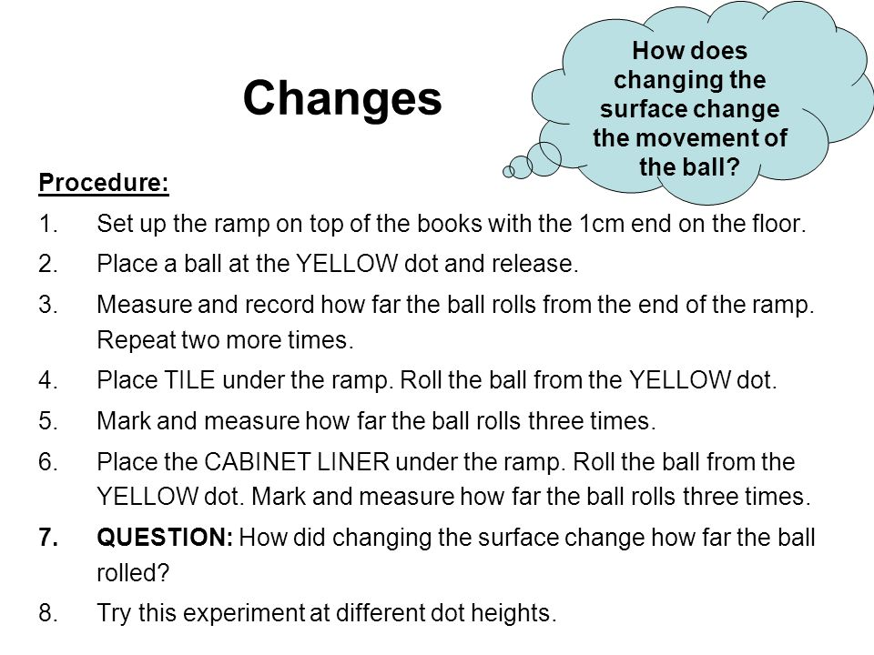 Changes Procedure: 1.Set up the ramp on top of the books with the 1cm end on the floor.