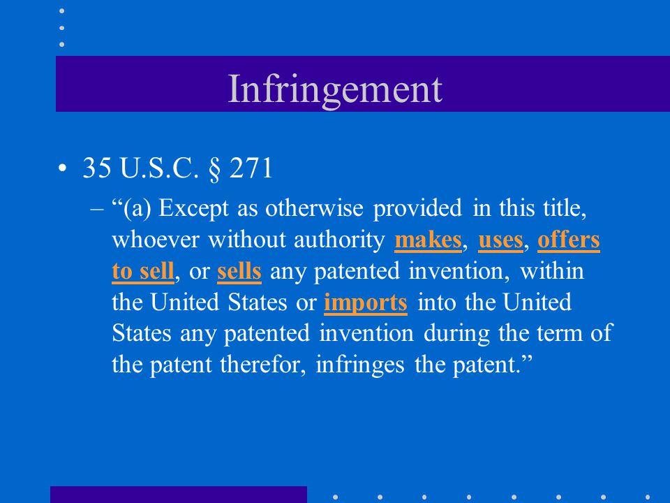 Infringement 35 U.S.C.