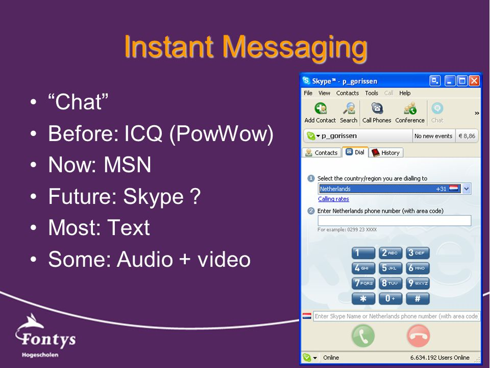 Instant Messaging Chat Before: ICQ (PowWow) Now: MSN Future: Skype .