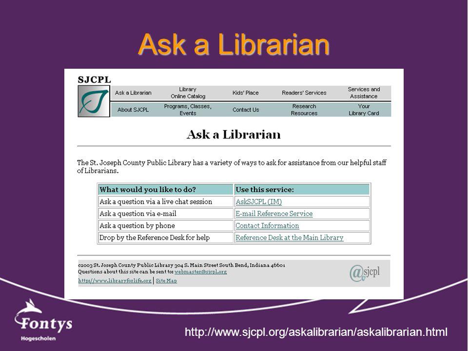 Ask a Librarian http://www.sjcpl.org/askalibrarian/askalibrarian.html