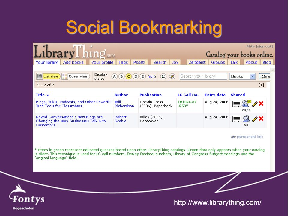 Social Bookmarking http://www.librarything.com/