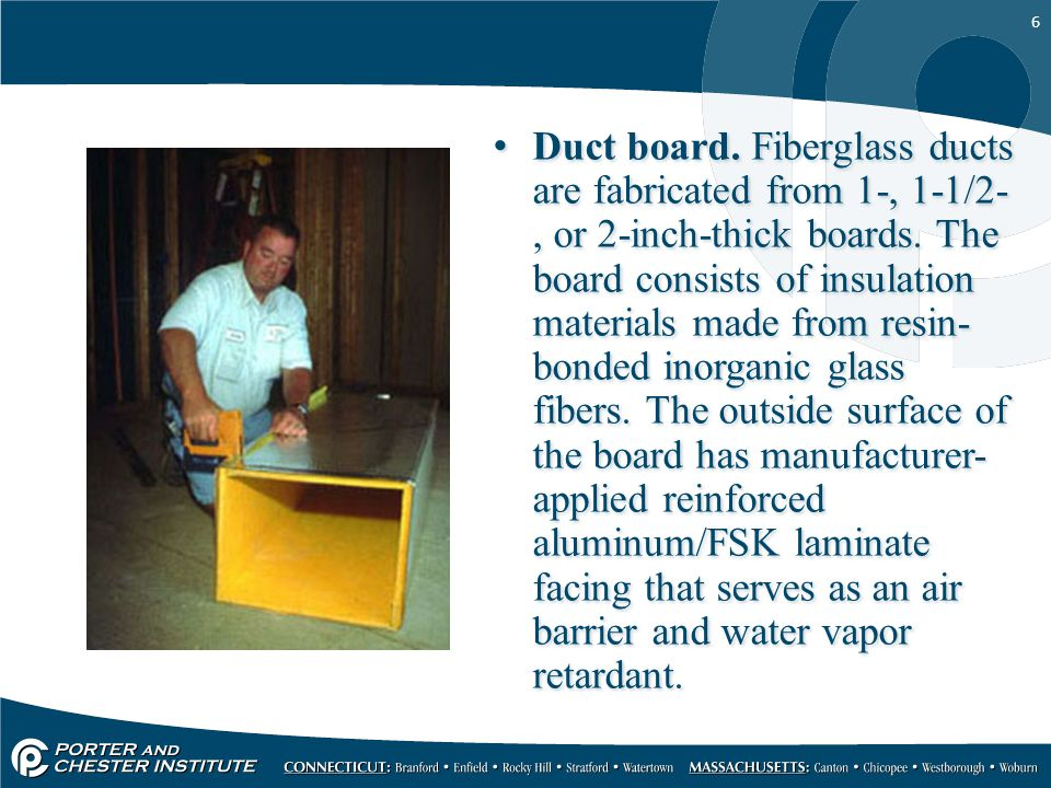 6 Duct board. Fiberglass ducts are fabricated from 1-, 1-1/2-, or 2-inch-thick boards.
