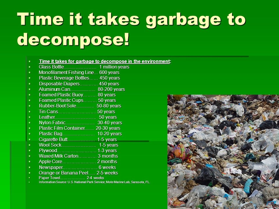 Time it takes garbage to decompose.
