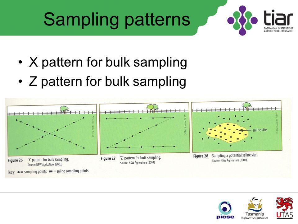 Sampling patterns X pattern for bulk sampling Z pattern for bulk sampling
