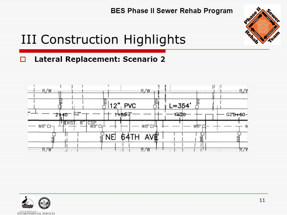 11 III Construction Highlights  Lateral Replacement: Scenario 2 BES Phase II Sewer Rehab Program