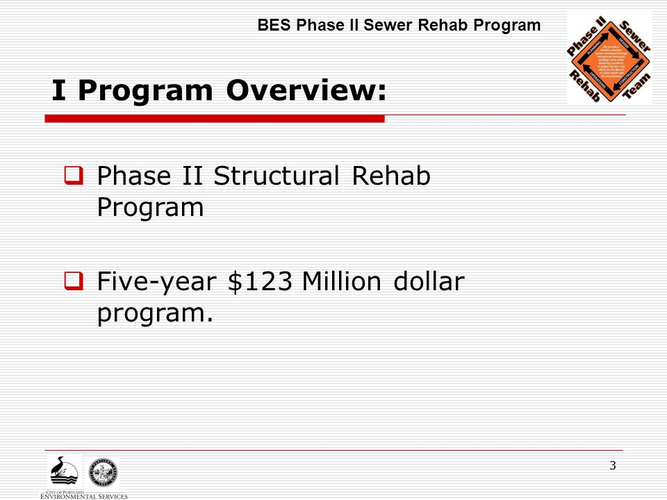 33 I Program Overview:  Phase II Structural Rehab Program  Five-year $123 Million dollar program. BES Phase II Sewer Rehab Program