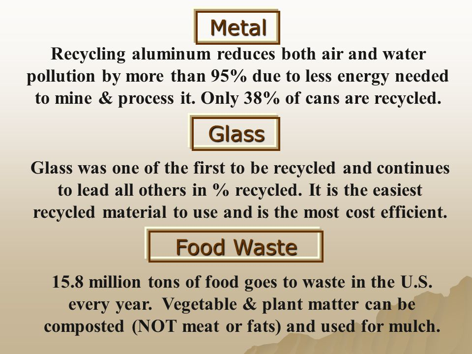 Metal Recycling aluminum reduces both air and water pollution by more than 95% due to less energy needed to mine & process it. Only 38% of cans are re