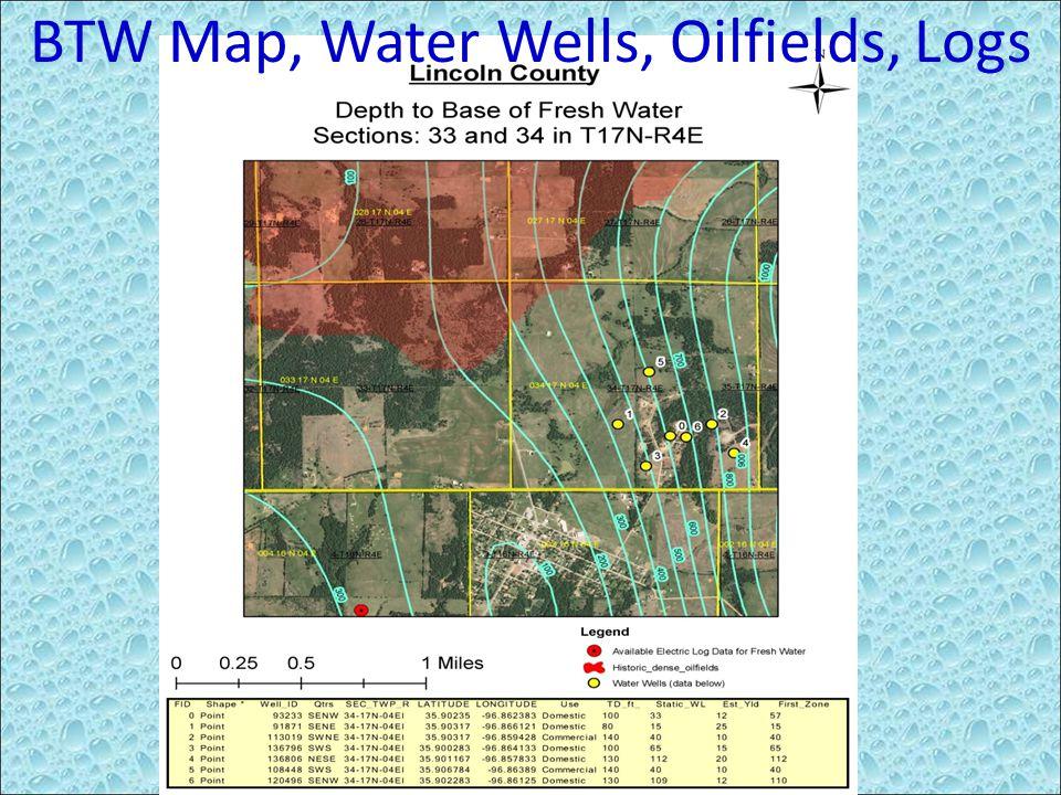 BTW Map, Water Wells, Oilfields, Logs