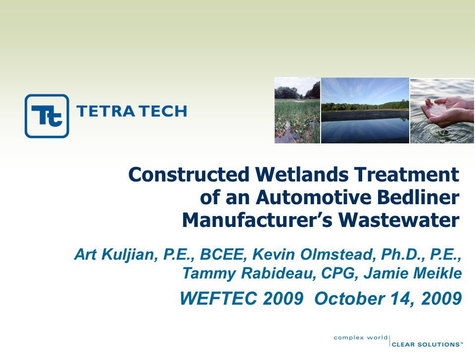Lessons Learned  Ensure C:N:P ratio of 100:5:1 is available in wastewater feed  Maintain wetland water temperature >50°F (10°C); otherwise, winter storage may be needed  Backwash of sand filter at 2% to 5% of flow aids insoluble nutrient removal  Periodic lamp cleaning via citric acid and/or sodium hypochlorite every 2 to 3 months  Annual harvesting of dominant plants (e.g., cattails) helps ensure variation and quantities of all species  Harvest duckweed before winter die-off to keep total P inventory in check