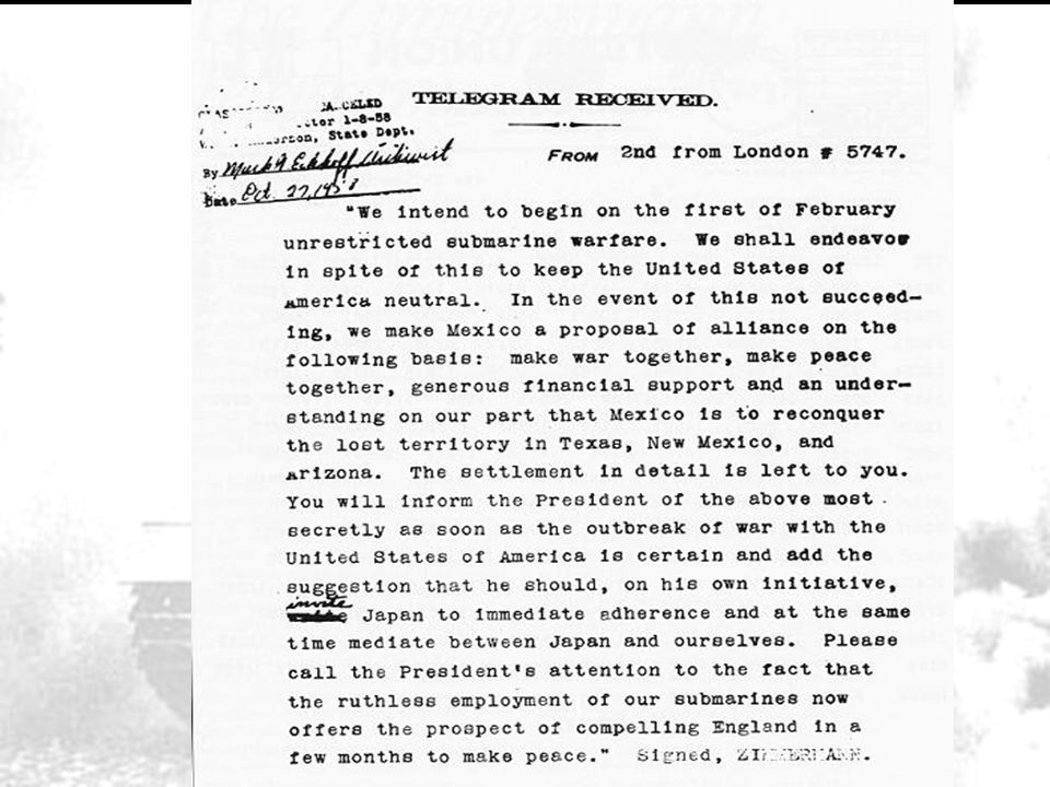Zimmerman note intercepted by a British agent and decoded