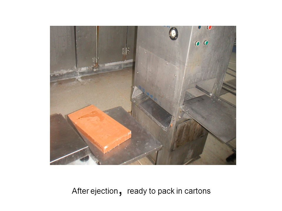 After ejection, ready to pack in cartons