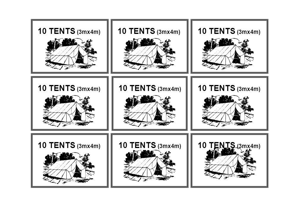 10 TENTS (3mx4m)