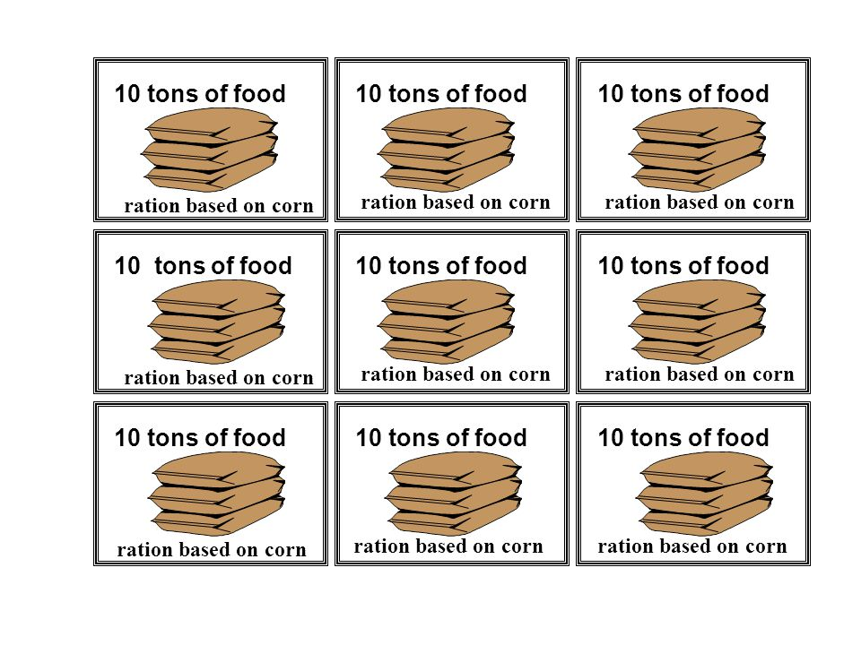 10 tons of food ration based on corn