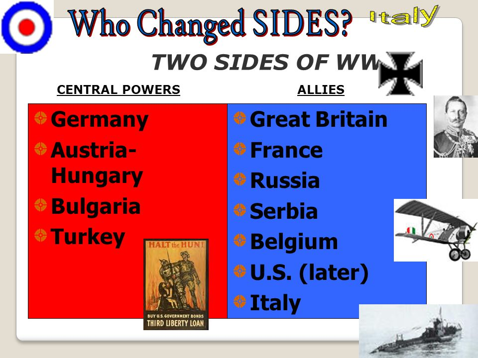 "World War I (1914–1918) Imperial, territorial, and economic rivalries led to the ""Great War"" between the Central Powers Allies (U.S., Britain, France,"