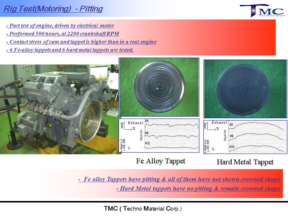TMC ( T echno M aterial C orp.) - Part test of engine, driven by electrical motor - Performed 500 hours, at 2200 crankshaft RPM - Contact stress of ca