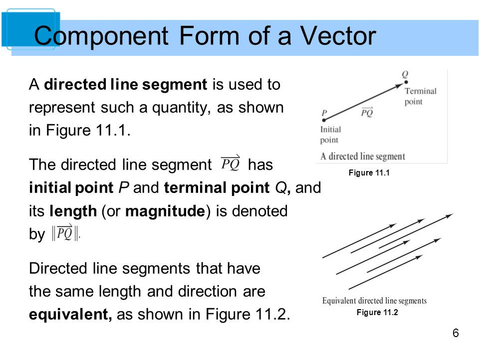 7 The set of all directed line segments that are equivalent to a given directed line segment is a vector in the plane and is denoted by v =.