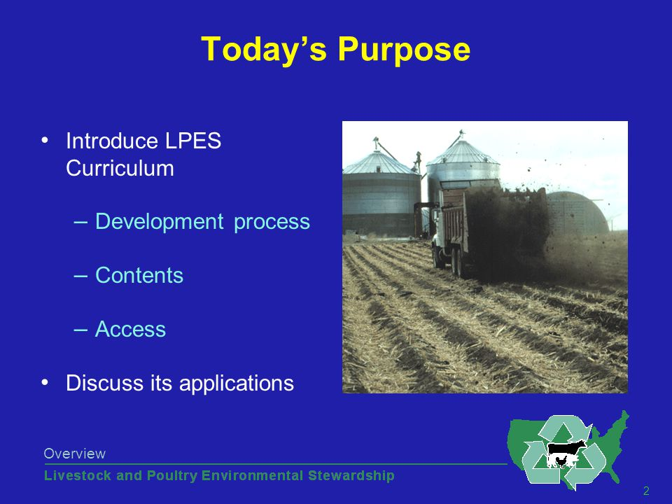 33 Overview Manure P vs. Cropland P Use PowerPoint presentation for each lesson