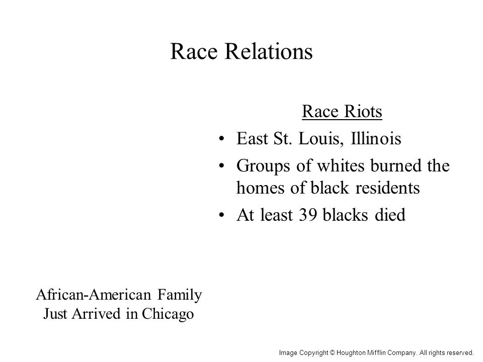 Race Relations Great Migration About 500,000 blacks moved North for jobs