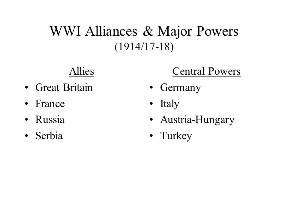 WWI I.Intro II.WWI (1914/17-18) A.Battlefront 1.Origins-Wilson 2.US & War B.Homefront A.Big Government B.Society & Economy III.Conc.