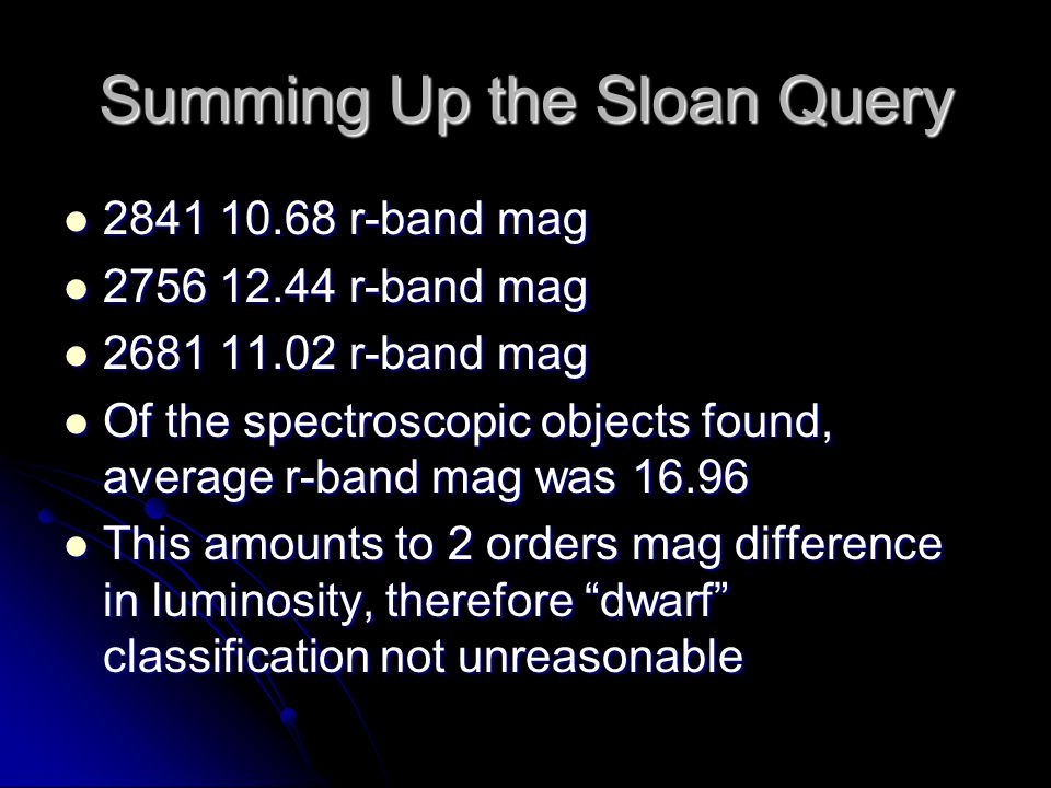 Summing Up the Sloan Query 2841 10.68 r-band mag 2841 10.68 r-band mag 2756 12.44 r-band mag 2756 12.44 r-band mag 2681 11.02 r-band mag 2681 11.02 r-band mag Of the spectroscopic objects found, average r-band mag was 16.96 Of the spectroscopic objects found, average r-band mag was 16.96 This amounts to 2 orders mag difference in luminosity, therefore dwarf classification not unreasonable This amounts to 2 orders mag difference in luminosity, therefore dwarf classification not unreasonable