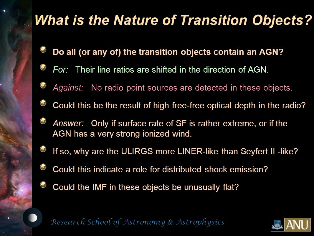 Research School of Astronomy & Astrophysics Fluorescent Processes What is the Nature of Transition Objects.