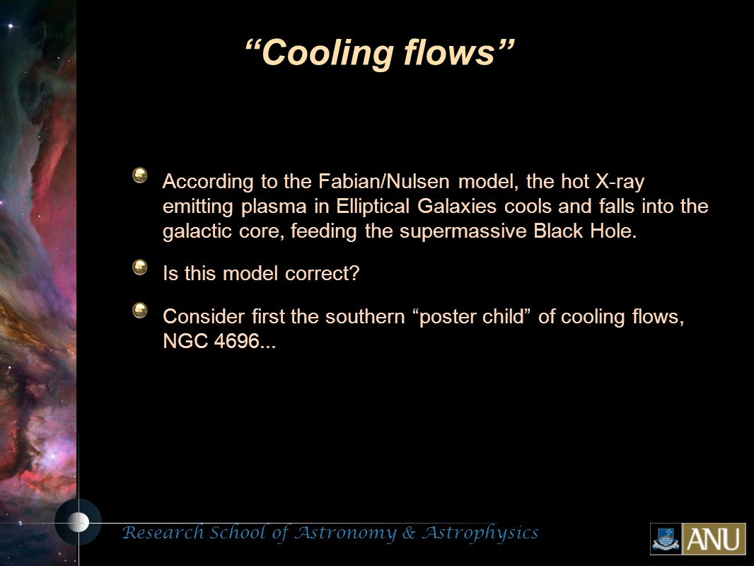 Research School of Astronomy & Astrophysics Fluorescent Processes Cooling flows According to the Fabian/Nulsen model, the hot X-ray emitting plasma in Elliptical Galaxies cools and falls into the galactic core, feeding the supermassive Black Hole.