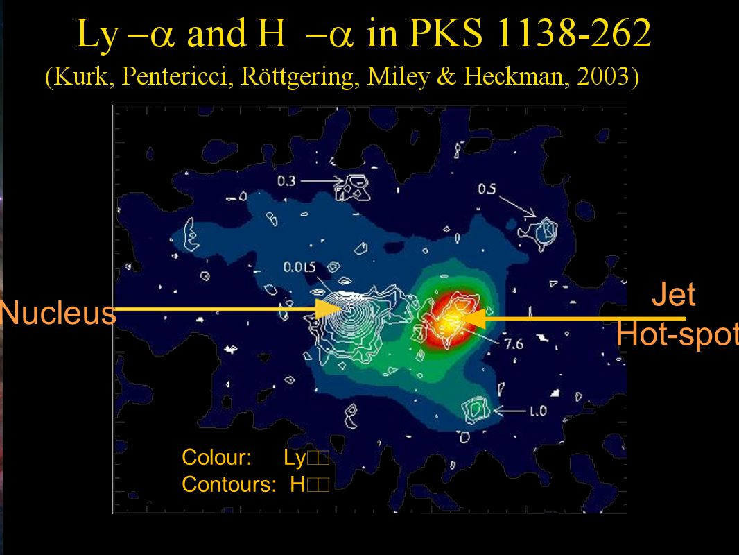 Research School of Astronomy & Astrophysics Fluorescent Processes Jet Hot-spot Colour: Ly−  Contours: H−  Nucleus
