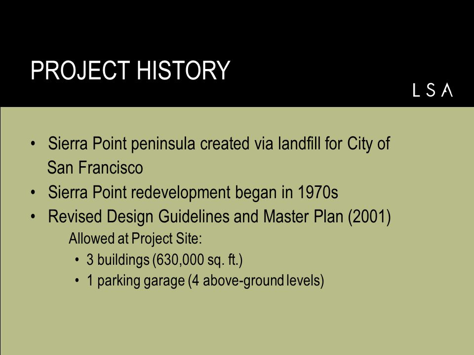 Existing Master Plan SIERRA POINT MASTER PLAN