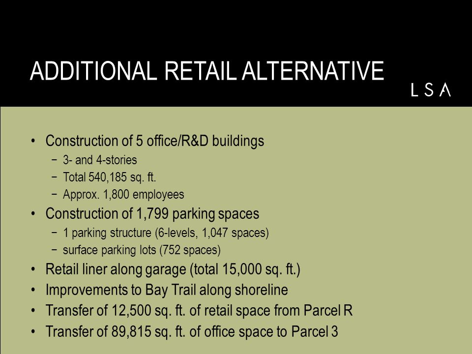 PROJECT ALTERNATIVES Additional Retail Alternative -Transfer of 12,500 sq.