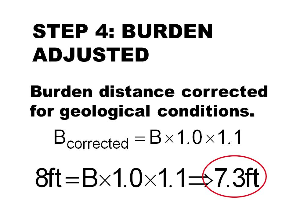 STEP 4: BURDEN ADJUSTED. Burden distance corrected for geological conditions.