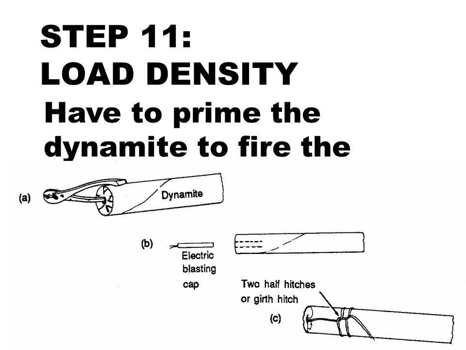 STEP 11: LOAD DENSITY Have to prime the dynamite to fire the shot.