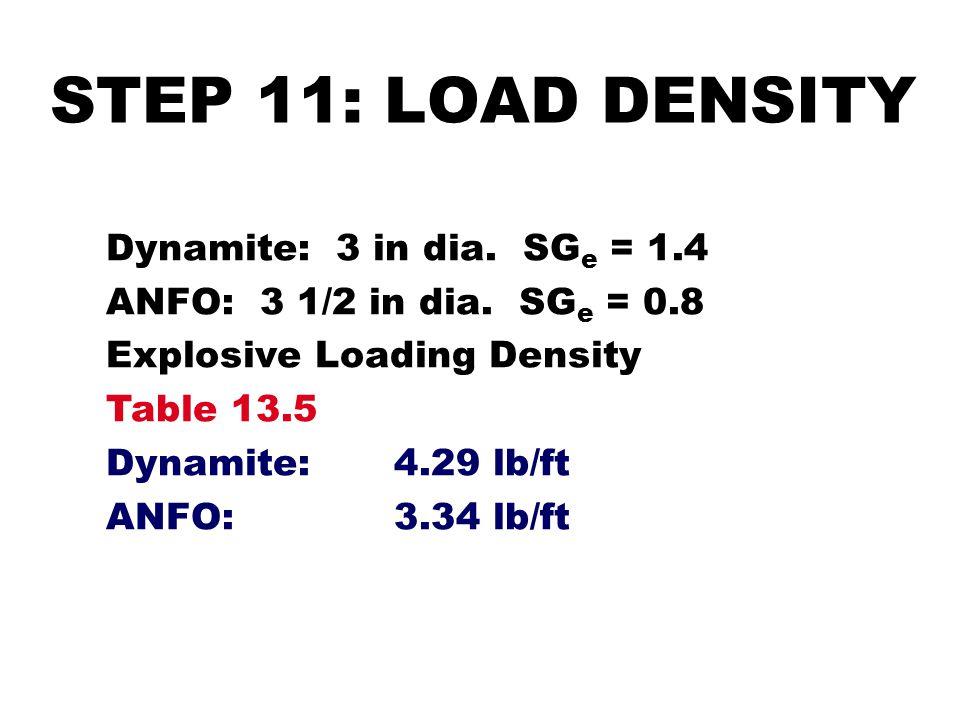 STEP 11: LOAD DENSITY Dynamite: 3 in dia. SG e = 1.4 ANFO: 3 1/2 in dia. SG e = 0.8 Explosive Loading Density Table 13.5 Dynamite:4.29 lb/ft ANFO:3.34