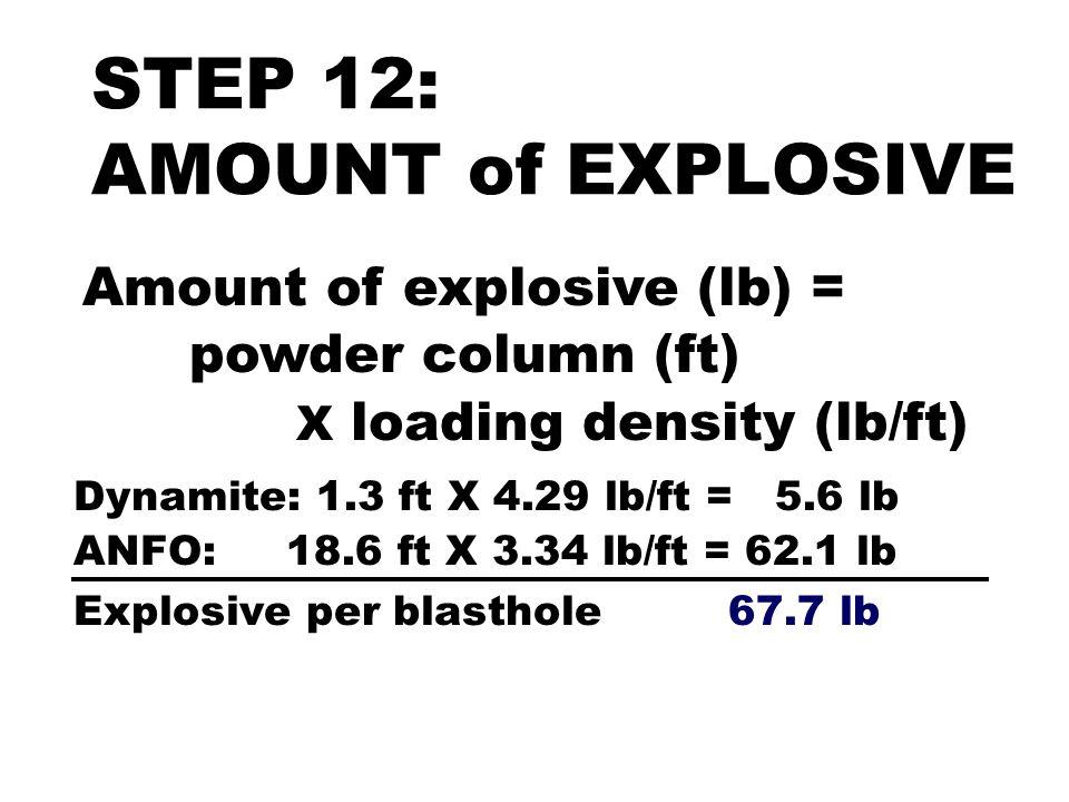 Amount of explosive (lb) = powder column (ft) X loading density (lb/ft) Dynamite: 1.3 ft X 4.29 lb/ft = 5.6 lb ANFO: 18.6 ft X 3.34 lb/ft = 62.1 lb Ex