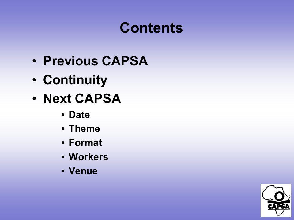 Contents Previous CAPSA Continuity Next CAPSA Date Theme Format Workers Venue