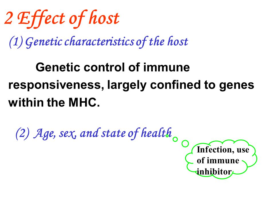 (1) Genetic characteristics of the host Genetic control of immune responsiveness, largely confined to genes within the MHC.