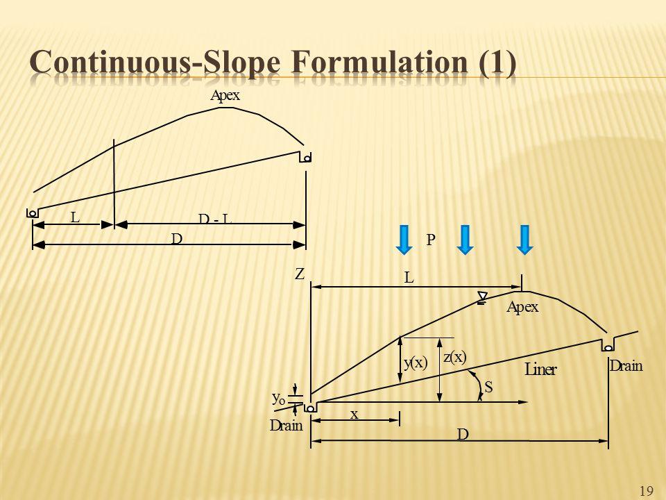 19 L D - L D Apex Apex D x y(x) y o Drain Liner Drain L S Z z(x) P