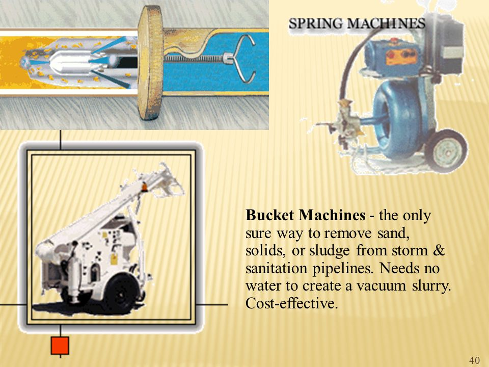 Bucket Machines - the only sure way to remove sand, solids, or sludge from storm & sanitation pipelines. Needs no water to create a vacuum slurry. Cos