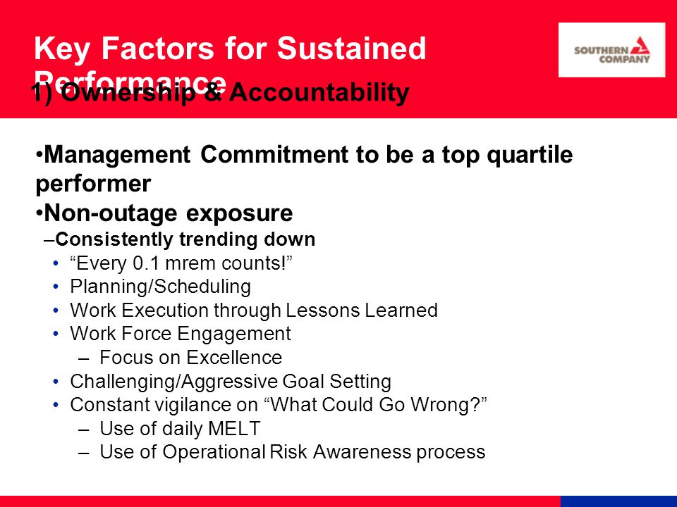 Key Factors for Sustained Performance Management Commitment to be a top quartile performer Non-outage exposure –Consistently trending down Every 0.1 mrem counts! Planning/Scheduling Work Execution through Lessons Learned Work Force Engagement –Focus on Excellence Challenging/Aggressive Goal Setting Constant vigilance on What Could Go Wrong? –Use of daily MELT –Use of Operational Risk Awareness process 1) Ownership & Accountability